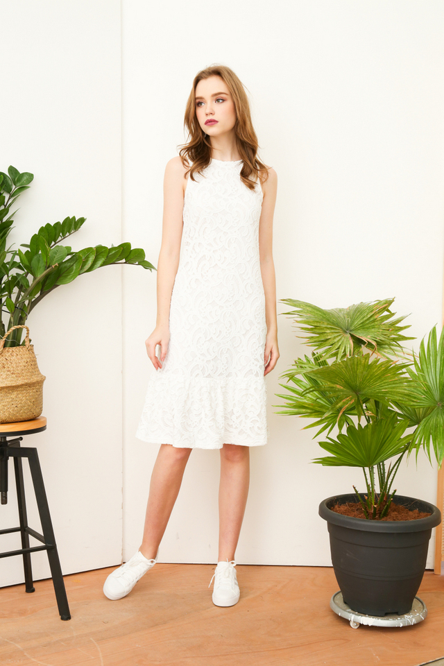 Lucille Lace Midi Dress in White