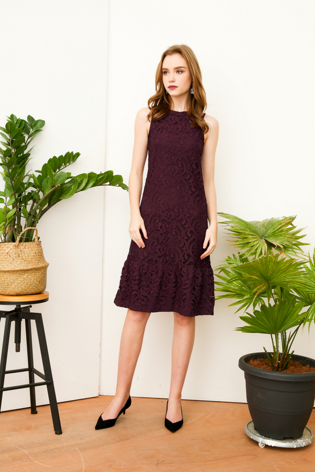 Lucille Lace Midi Dress in Deep Purple (XS)