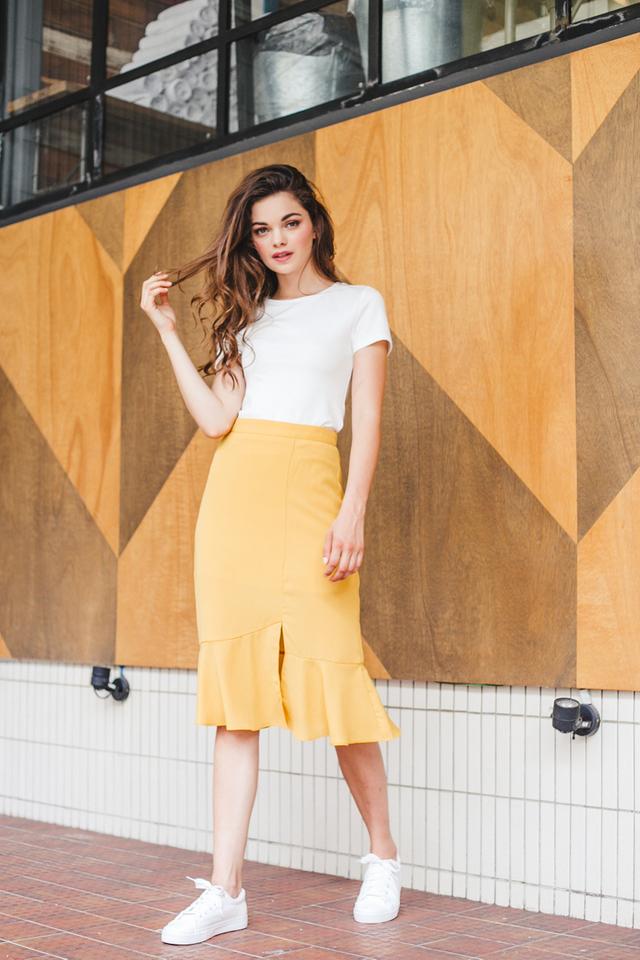 Bailey Slit Midi Skirt in Mustard