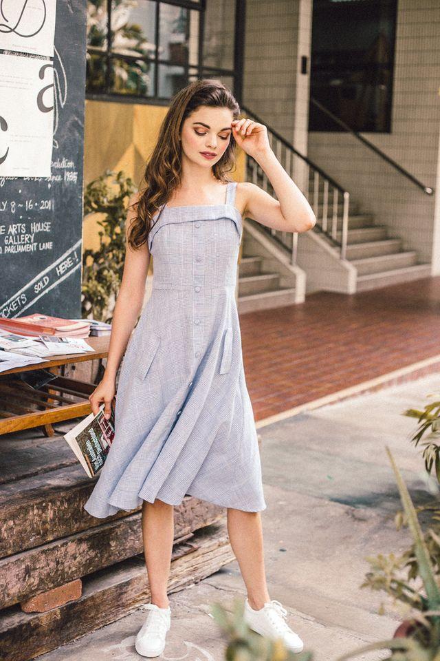 Emilia Plaid Button Down Midi Dress in Blue (L)