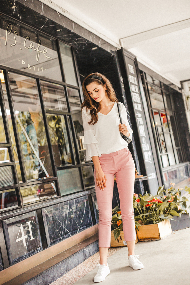 Adley Fitted Work Pants in Pink