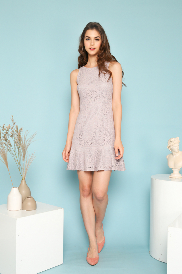 Alora Lace Ruffles Dress in Lilac Grey