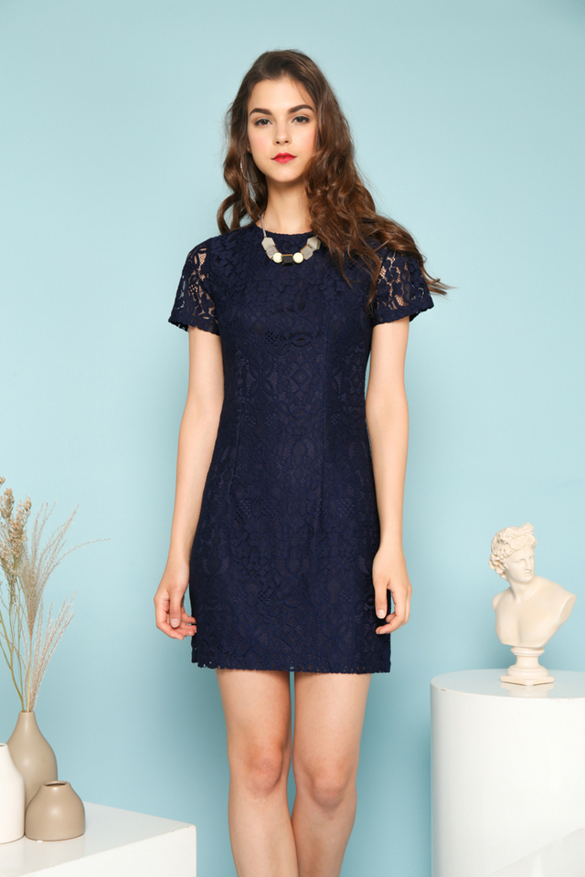 Carina Floral Lace Sleeve Dress in Navy Blue (S)