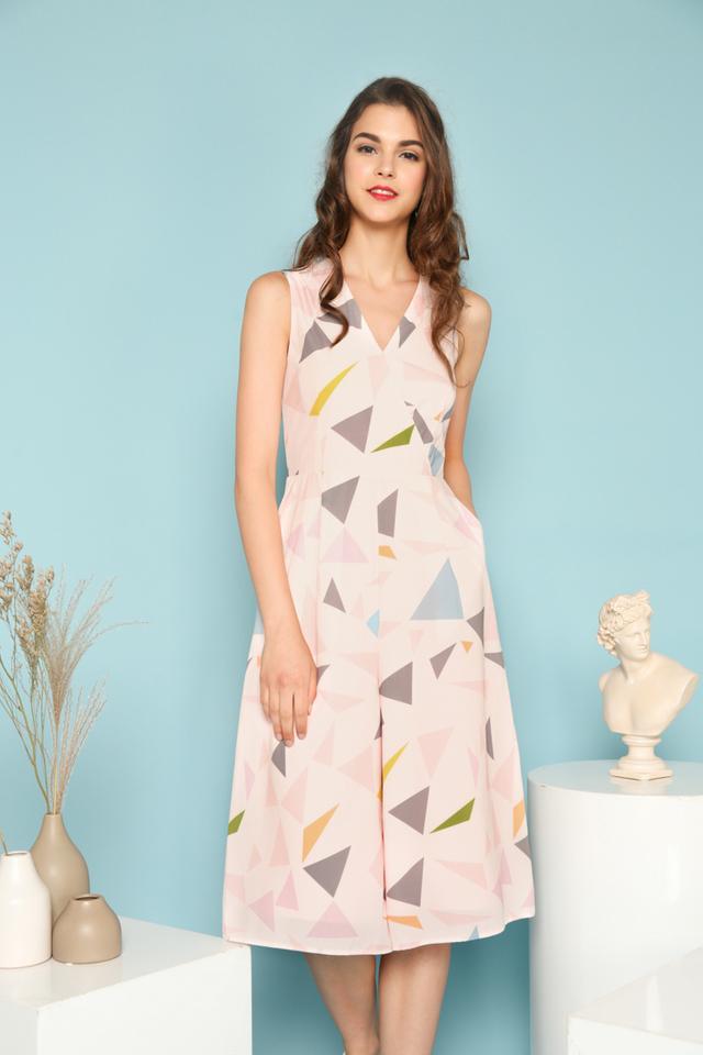 Ellery Geometric Faux Wrap Jumpsuit in Pastel Pink