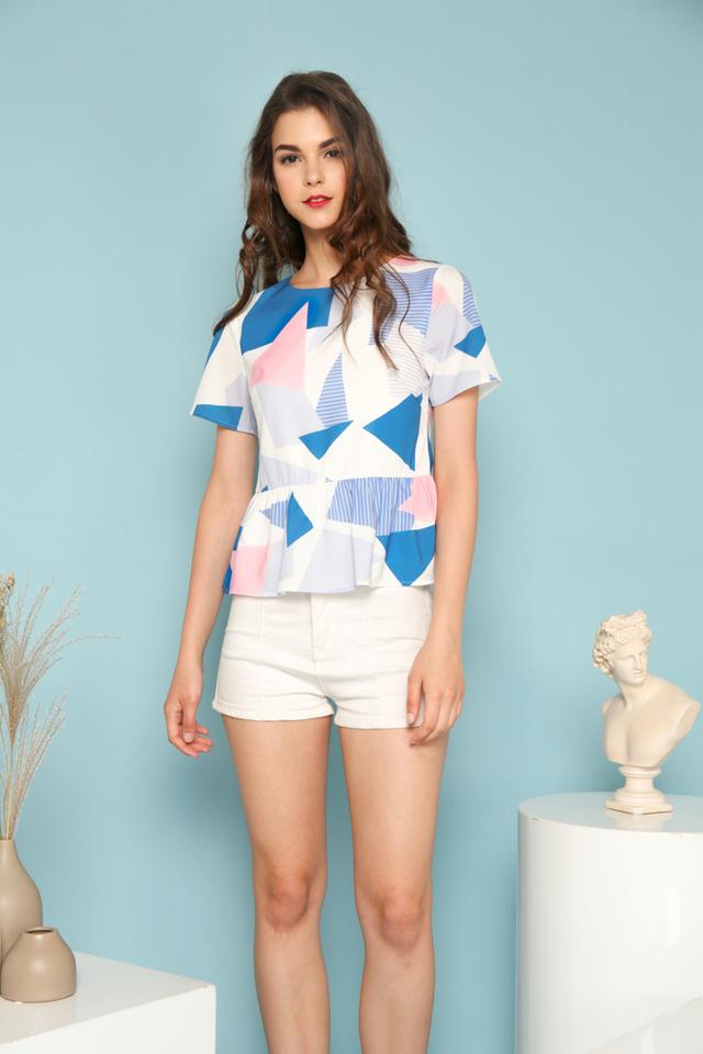 Tess Geometric Ruffles Top in Sapphire Blue