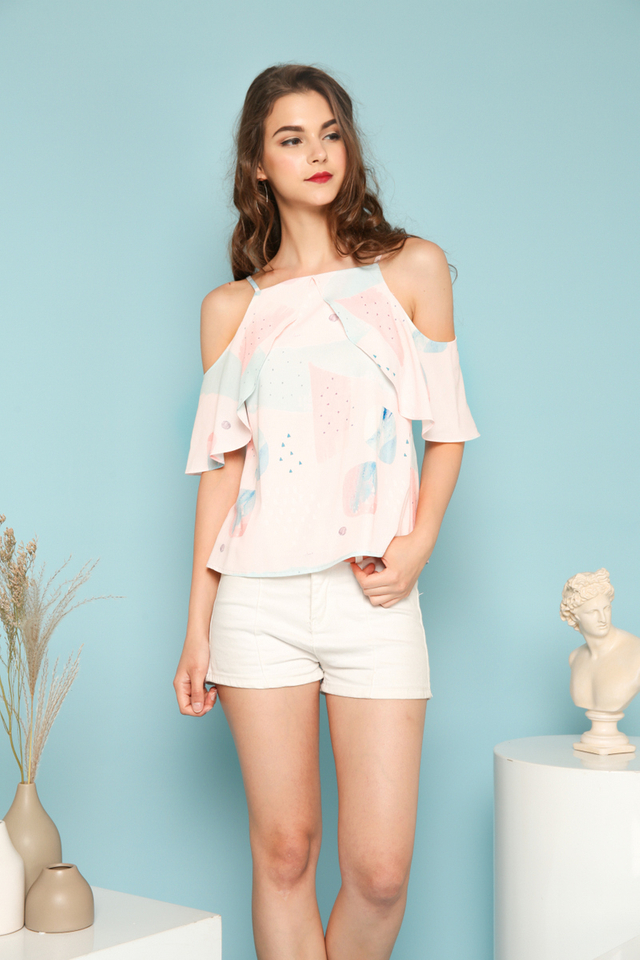 Kynlee Abstract Cold Shoulder Top in Pastel Pink