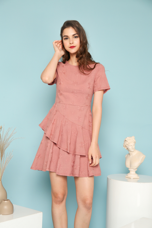 Rue Embroidered Ruffles Dress in Rouge Pink