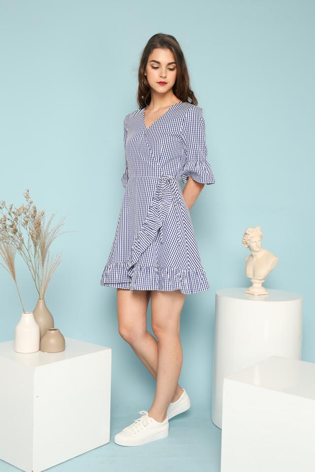 Maisyn Faux Wrap Gingham Dress in Blue