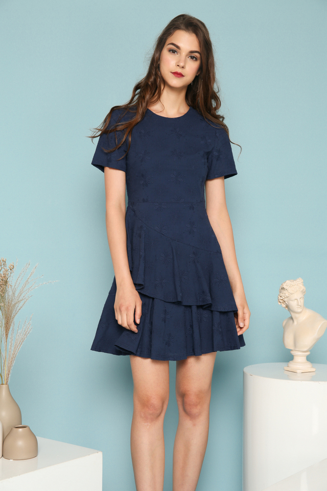 Rue Embroidered Ruffles Dress in Navy