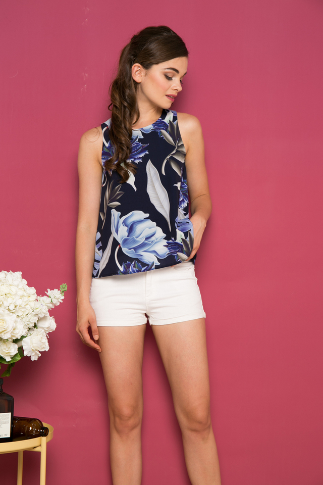 Guthrie Foliage Top in Navy