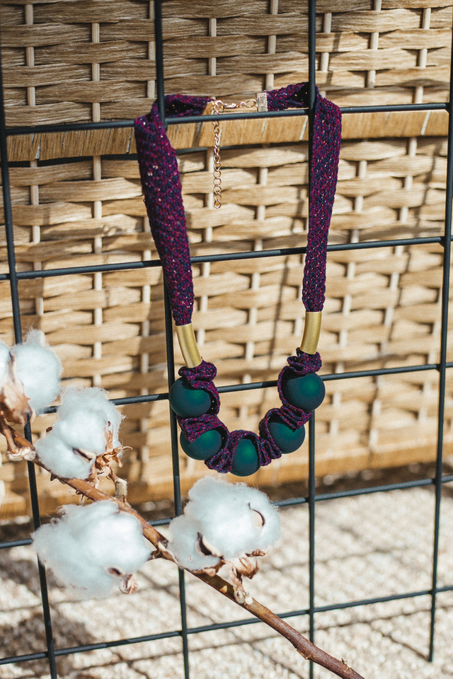 Tapio Bead Statement Necklace in Green