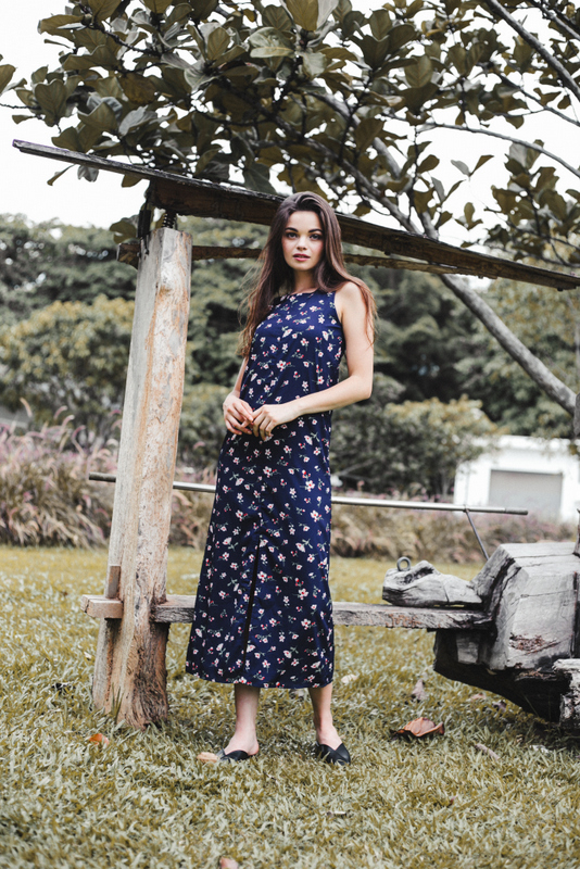 Adalynn Floral Slit Maxi Dress in Navy
