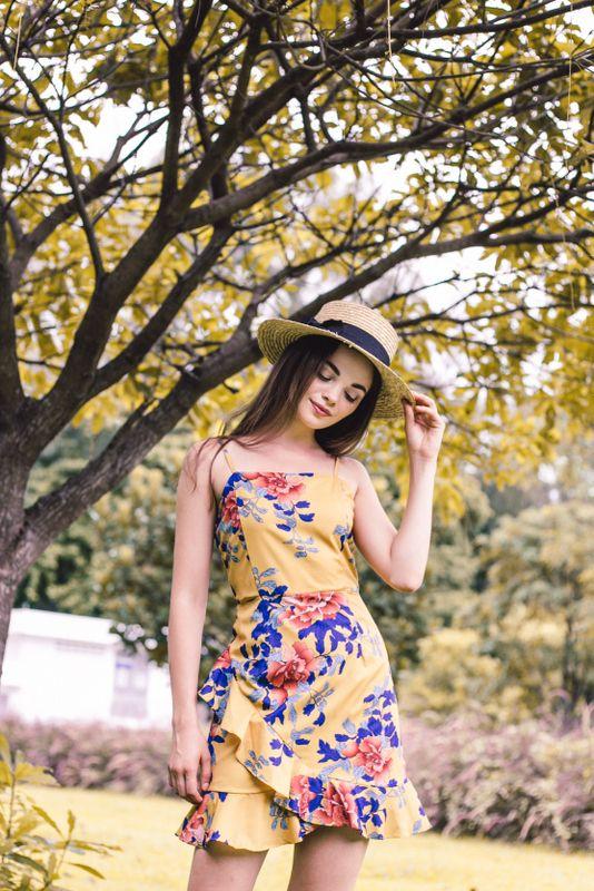 Carmella Floral Ruffles Dress in Mustard (L)