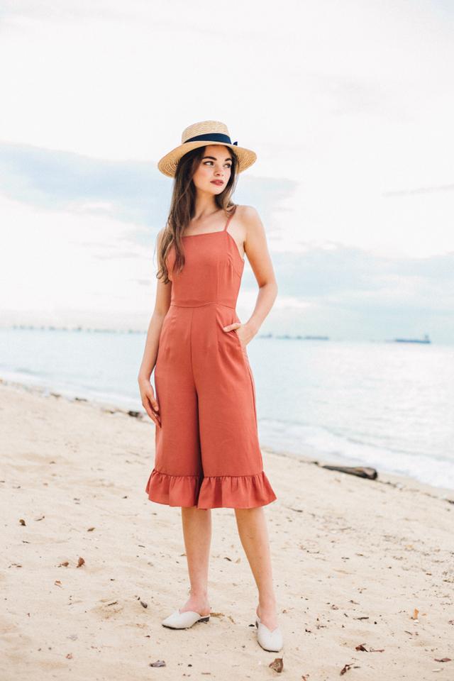 Carissa Ruffled Hem Jumpsuit in Melon Orange