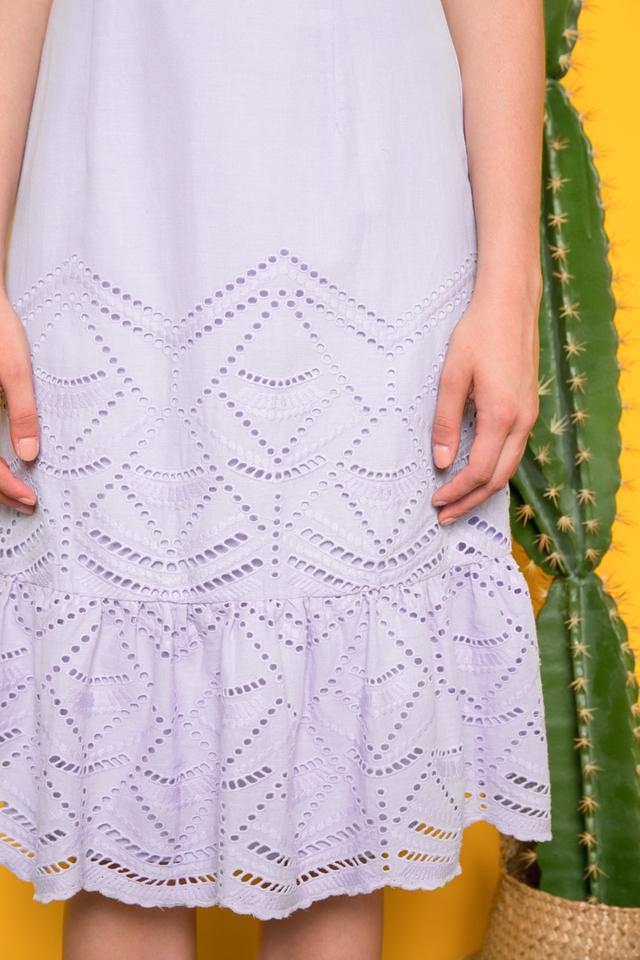 Mariella Eyelet Ruffles Midi Dress in Periwinkle (L)