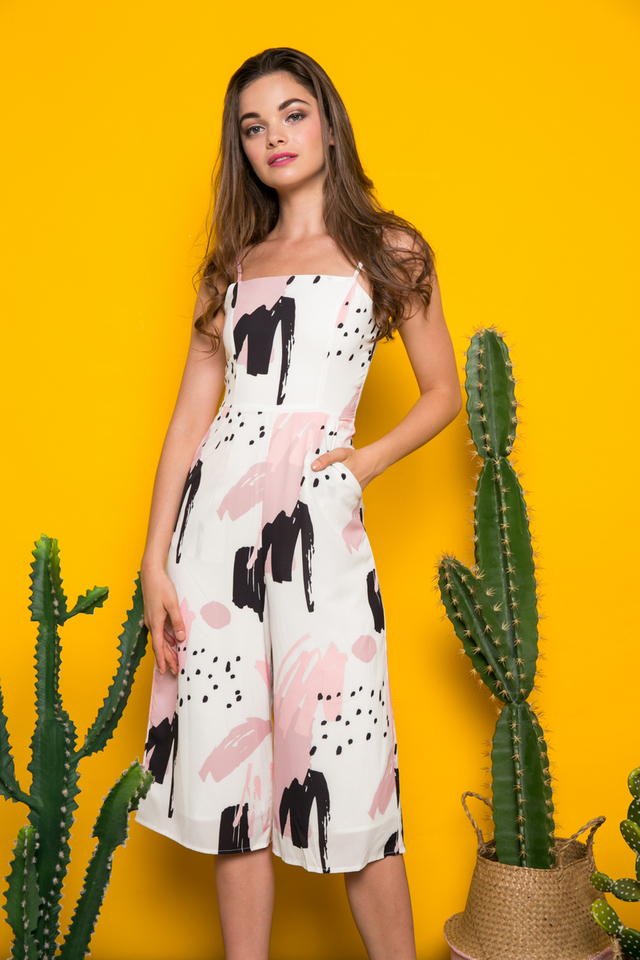 Zinnia Abstract Jumpsuit in White