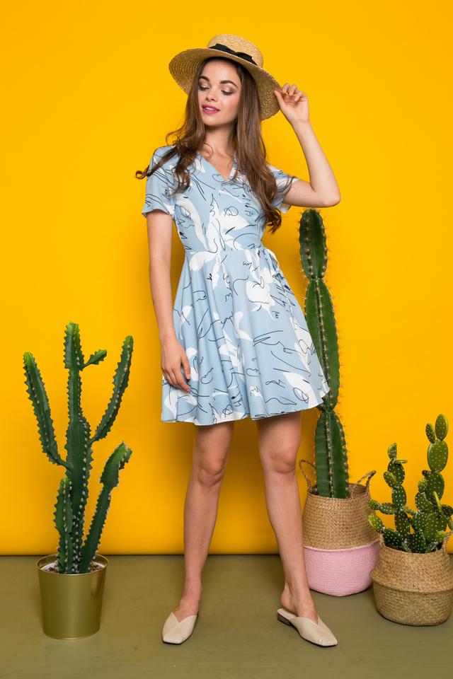 Ciara Abstract Skater Dress in Blue (XS)