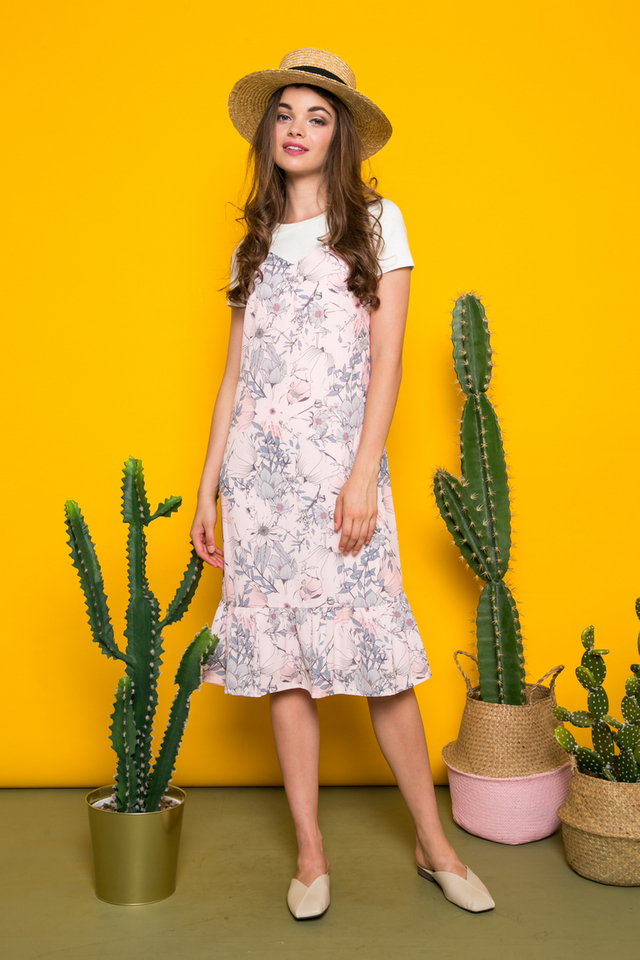 Gisela Two-piece Floral Midi Dress in Pink