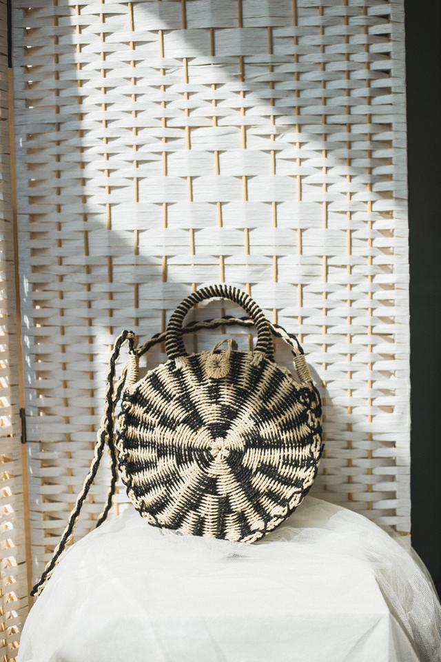 Lisel Striped Straw Bag in Beige