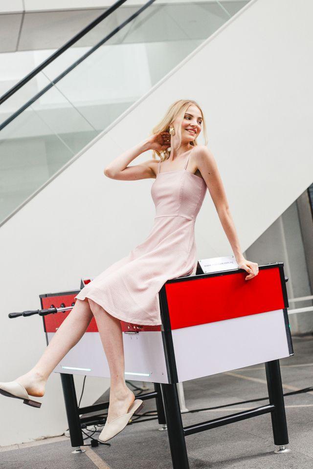 Lorette Gingham Flare Midi Dress in Dusty Rose (L)