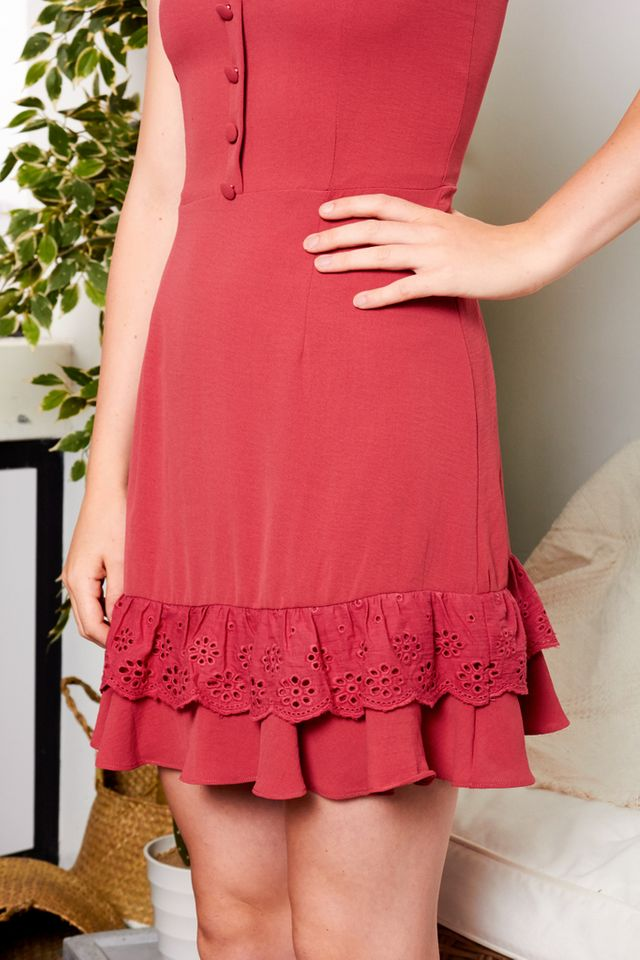 Shyril Button Eyelet Dress in Strawberry Pink