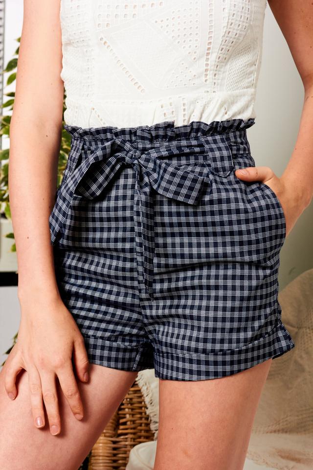 Wylden Plaid Paperbag Shorts in Navy
