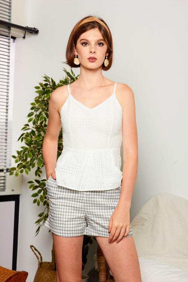 Wylden Plaid Paperbag Shorts in White (L)