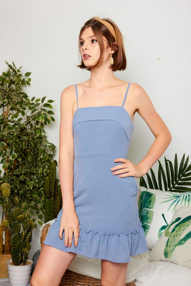 Mieke Layered Ruffles Dress in Steel Blue (L)