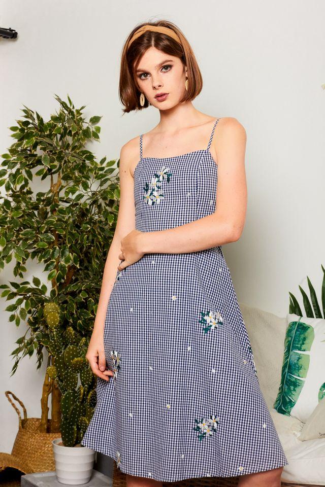 Pertessa Floral Gingham Midi Dress in Navy Blue
