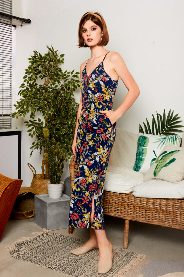 Kyeleigh Floral Slit Jumpsuit in Navy