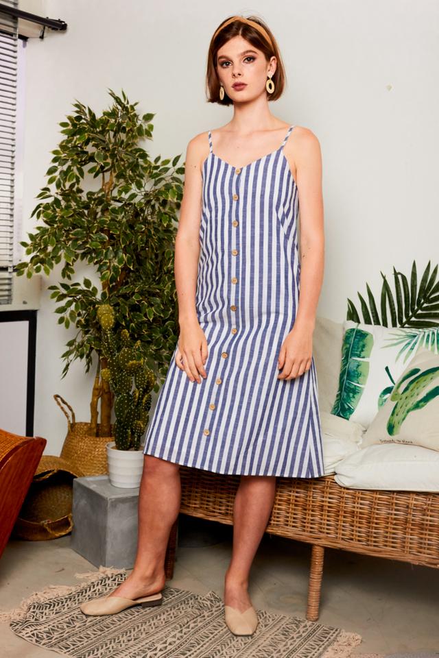 Leachelle Striped Button Dress in Hale Navy
