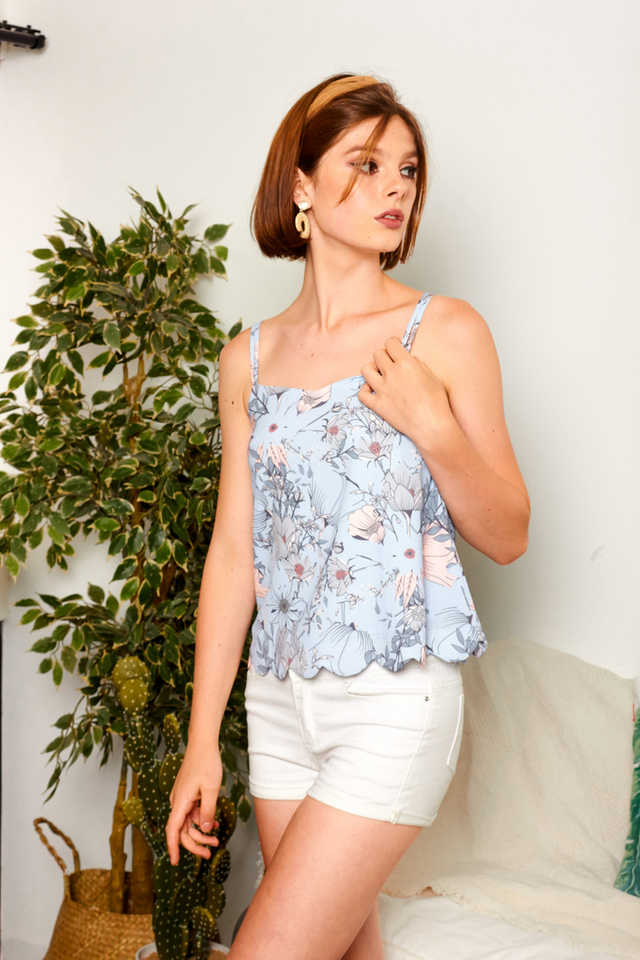 Roel Floral Double Strap Top in Baby Blue