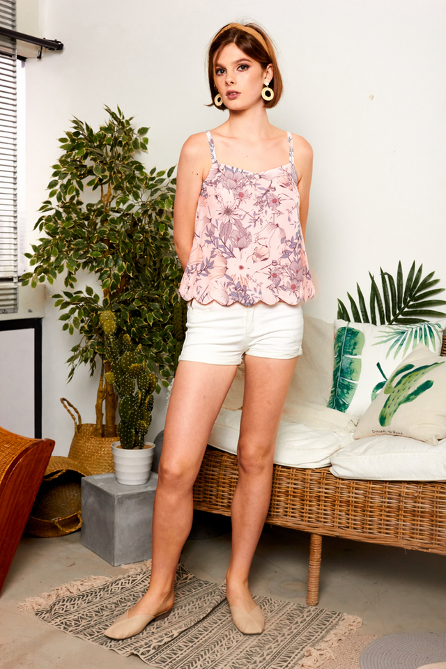 Roel Floral Double Strap Top in Baby Pink