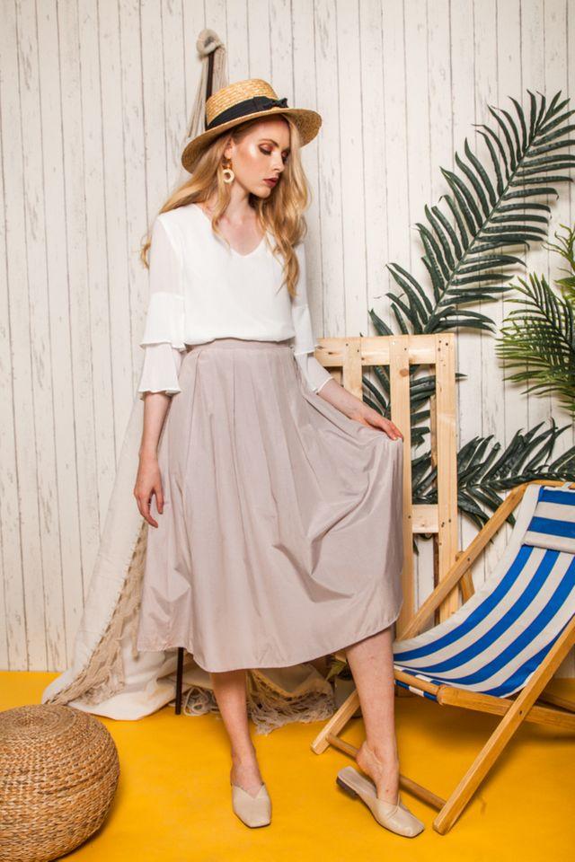 Pasha Dirndl Skirt in Light Khaki (XS)