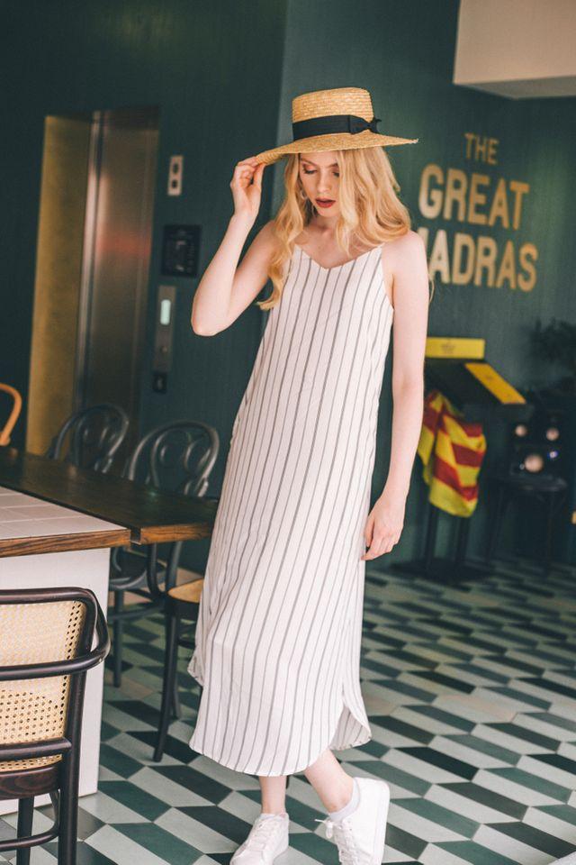 Ryein Pinstripe Slip Maxi Dress in White (XL)