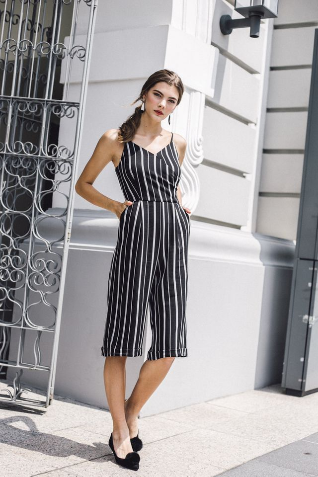 Penthia Faux Wrap Pinstripe Jumpsuit in Black (L)