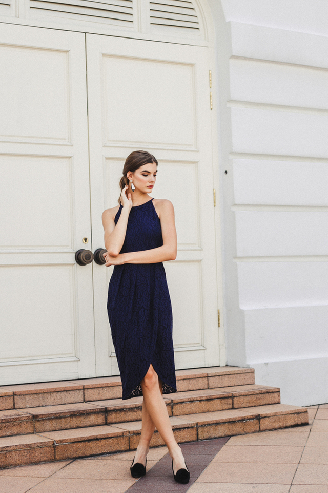 Delphia Lace Petal Midi Dress in Navy (L)