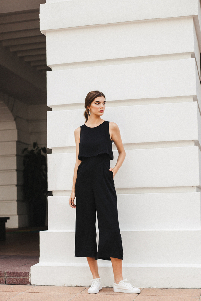 Uriela Layered Wide Leg Jumpsuit in Black