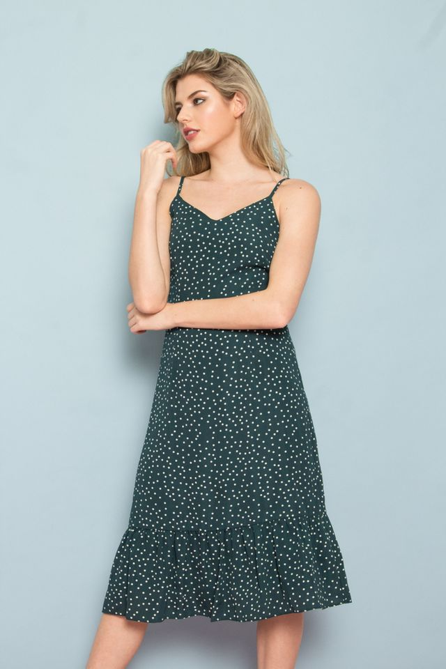 Bethia Polka Dot Dropwaist Dress in Forest (XS)