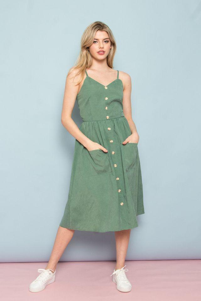 Leandra Button-Down Midi Dress in Sea Green (L)