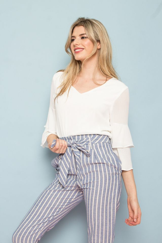 Lenis Stripe High Waisted Pants (XL)