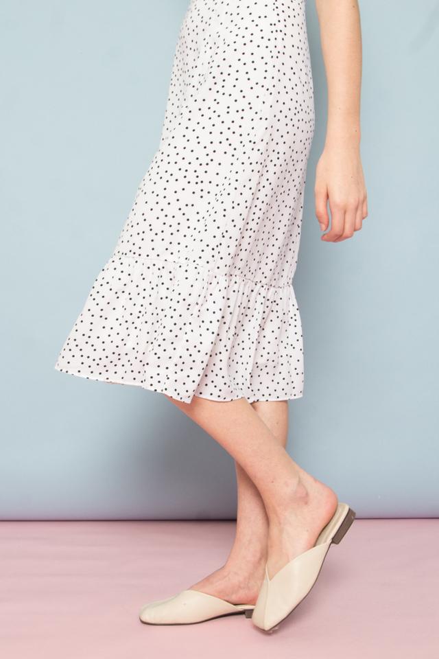 Bethia Polka Dot Dropwaist Dress in  White