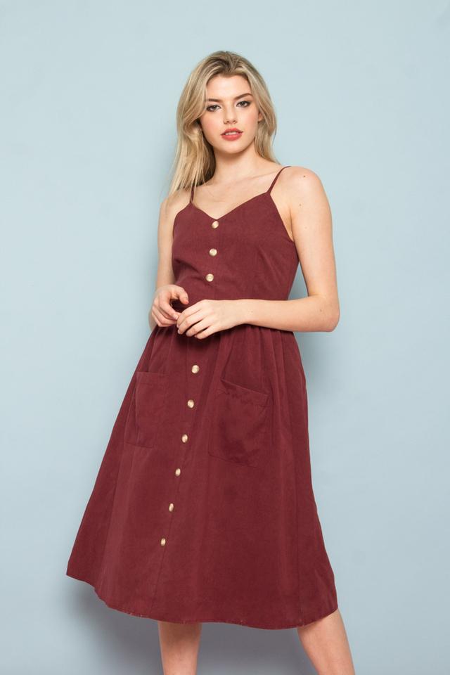 Leandra Button-Down Midi Dress in Wine Red (L)