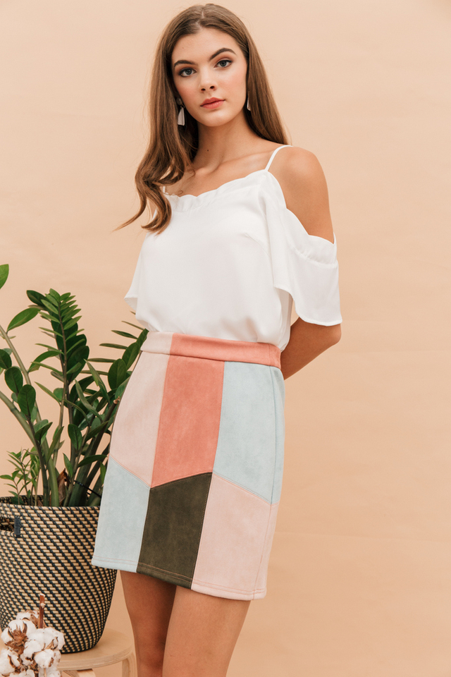 Cyrilla Scalloped Cold Shoulder Top in White