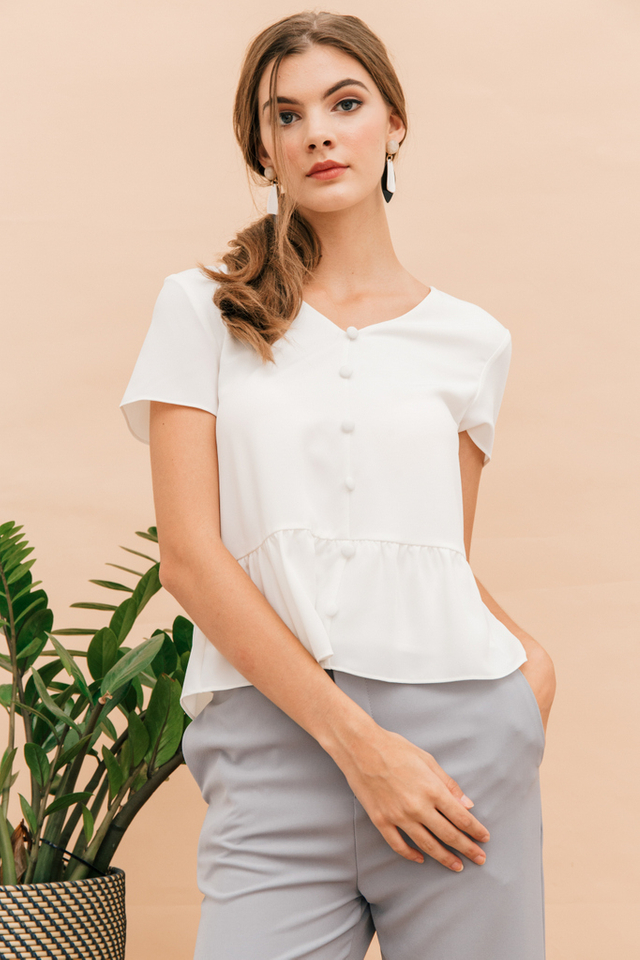Talbot Button Down Babydoll Top in White