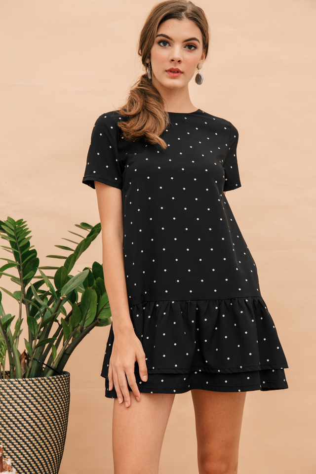 Nanette Polka Dot Dropwaist Dress in Black