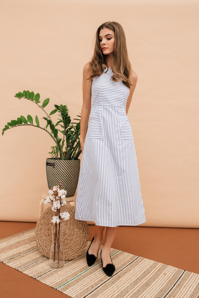 Keahi Striped Maxi Dress in White