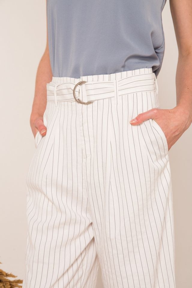 Chela Striped Belted Culottes in White