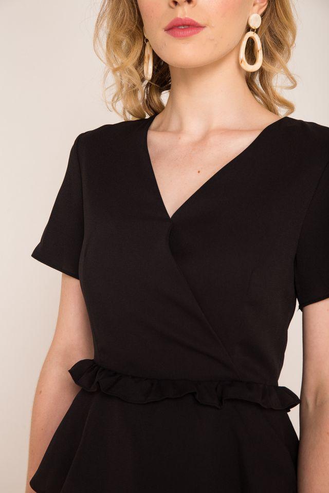 Adelei Ruffle Peplum Top in Black (XS)