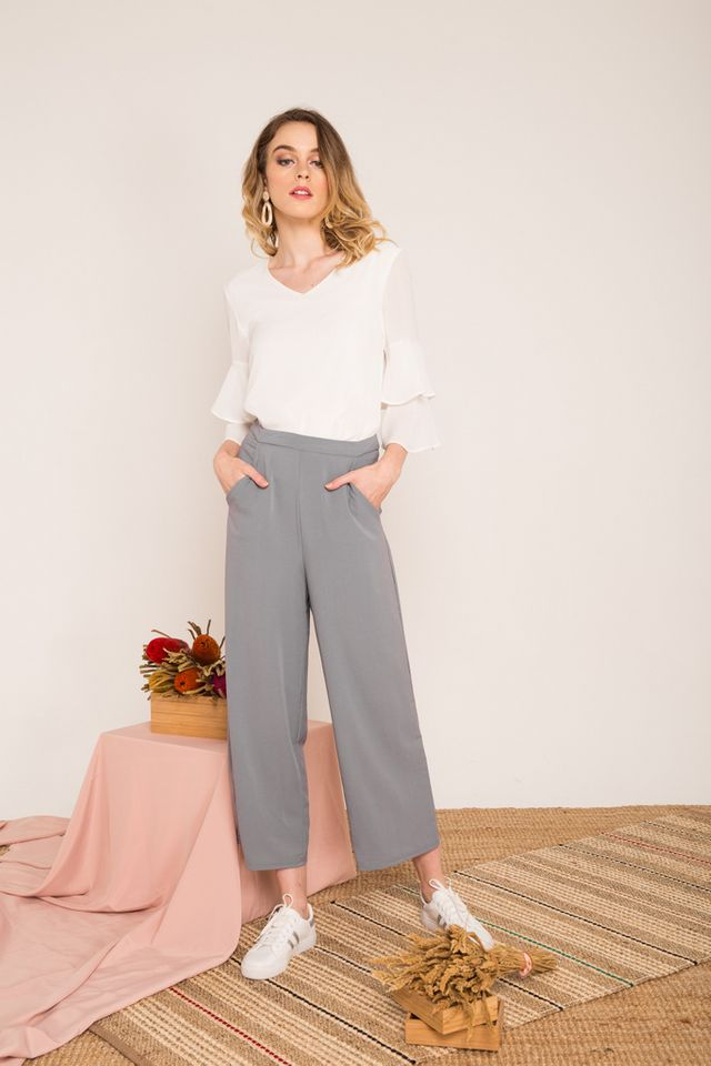 Urien High-waisted Trousers in Grey-blue (XL)